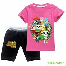 2020 Animal Crossing Kids Girls Short Sleeve Top T-shirt +Pant Summer Suit Gifts