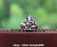 Tibetan Buddhism Handwork Tibet Silver Jewelry Four Arms Ganesha Elephant Ring