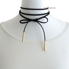 Choker Kette Halsband Schwarz Gold Halskette Band Blogger Kropfband Damen