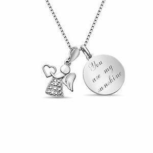 Personalisierte 925 Silber Schutzengel Kette Wunsch Gravur Plättchen Halskette