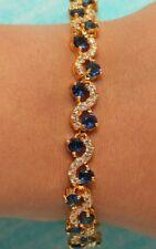 "Blue S Link 14K Yellow Gold Finish 3ct Diamonds Tennis Bracelet 7.5"" Anniversary"