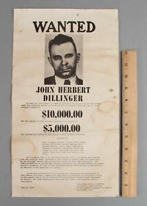 RARE 8x16 Authentic Original 1934 Enemy No 1 JOHN DILLINGER Wall Wanted Poster