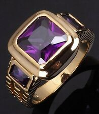 Size 8,9,10,11,12 Jewelry Amethyst Gold Filled Fashion Fashion Band Mens Rings