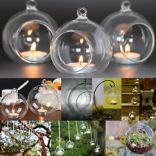 12x Crystal Glass Christmas Hanging Candle Tea Light Holders Wedding Decor