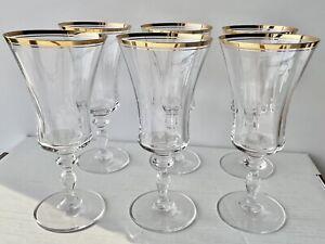 Mikasa Jamestown Gold Iced Tea Goblets (6) Crystal Hand Blown Glasses T 2703