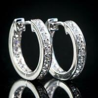 Men Women Iced Huggie Hoop White Gold Plated CZ Sliver Round Earrings