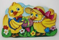Vintage Easter Spring Yellow Chicks Decoration Die-Cut Wall Covering HTF