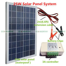 25W Solar Panel Kit with Battery Clips & 3A Charge Controller 12V  Home Camping