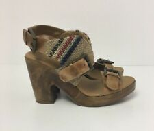 FAITH Womens Tan Wooden Canvas Buckle Strap Block Sandals Size 4 UK New RRP £65
