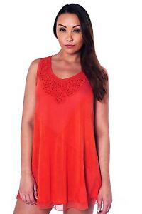 Ladies Orange Summer Top with Applique & Beads Chiffon Trim Holiday Sizes 8-22
