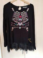 Desigual Damen Langarmshirt mit Stickerei Farbe schwarz-bunt Größe L NEU