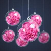 Clear Plastic Acrylic Craft Ball Baubles Christmas Tree Wedding Decoration UK