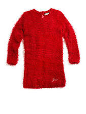 NEW GUESS ROSALIE KNIT SWEATER DRESS ,TULIP RED,FUZZY TEXTURE,LOGO,SIZE 8