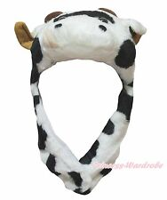 Halloween Dairy Cattle Milk Cow Ox School Party Costume Warm Hat Headgear Mask