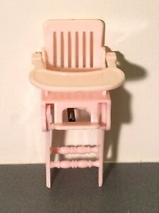 Vintage Ideal Pink High Chair Converts To Rocker Dollhouse Miniature Furniture