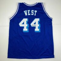 Autographed/Signed JERRY WEST Los Angeles LA Blue Retro Jersey JSA COA Auto