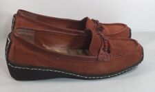 Avon Cushion Walk Rust Brown Suede Leather Stone Embellished Slip On Loafers 9