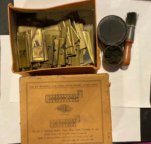 """Vintage MARKWELL Brass Stencil Set, 1""""  & 1/2""""  complete letters and numbers"""