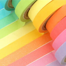 10 Rolls Rainbow Colorful Paper Masking Tape Sticky Washi Adhesive Scrapbooking