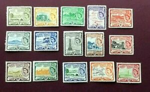 ST.KITTS & NEVIS 1952 - FULL DEFINITIVE SET TO $4.80 (15 STAMPS) - MINT L/H