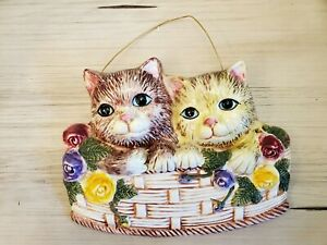 Kitty Cats In Basket Ceramic Wall Hanging Plaque Vintage GUC