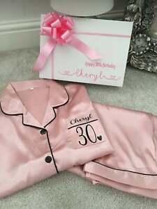 Personalised Ladies Pyjamas PJs Special Birthday Free Box 16 18 21 30 40 50 60th