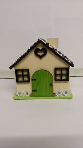 Hand-Painted Decorative Money Box House Lovely Gift Christmas Birthday Wooden