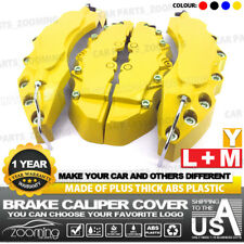 4x Brake Caliper Covers Universal Car Style Disc Yellow Front Rear Kits L+M LW04
