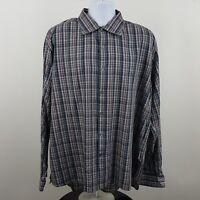 Hickey Freeman Multi Color Plaid Check Men's L/S Casual Button Shirt Sz 2XL XXL