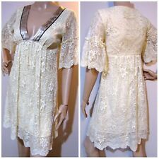 REVIEW size 8 bell sleeve lace baby doll DRESS with satin trim & plunge neckline