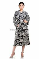 Indian Elephant Mandala Cotton Night Gown Women Bath Robe Kimono Sleepwear Maxi