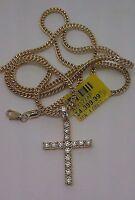 "Real  10k yellow Gold Cross pendant, Real 1.00CT Diamond &24"" Inch Franco Chain,"
