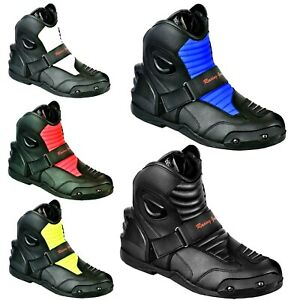 Short Ankle Boots Racing Waterproof Motorbike Motorcycle Leather Shoes Armoured