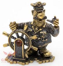 Brass Amber Figurine Sailor Ship Captain skipper with ship wheel & pipe IronWork