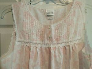 Vintage USA MADE  Adonna Pink White LACE Floral Nightgown VERY LIGHTWEIGHT LARGE