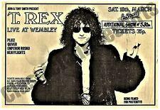 T-Rex Vintage Concert Poster Wembley 1972 Reproduction