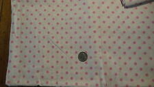 """Antique Cotton Fabric PINK POLKA DOTS ON WHITE 1 Yd/36"""""""
