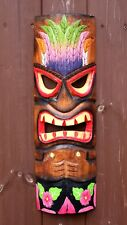 Large 50cm HandCarved Painted Tiki BarHawaiian Wall Hanging Mask Face Mens Gifts