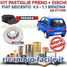 KIT PASTIGLIE FRENO FERODO + DISCHI PILENGA FIAT SEICENTO 0.9 1.1 BENZINA 600