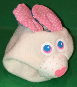 Vtg Fisher Price 1312 Rabbit ANIMAL GRABBER Plush Bunny Rattle Baby Toy