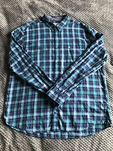 Jack Wills Mens Blue Long Sleeve Plaid Shirt XL Excellent Condition