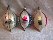 3 Vintage Poland Mercury Glass Striped & Mica Teardrop Christmas Ornaments