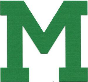 "6 1/4"" x 6"" inch Green Block Athletic Letterman's Letter M Felt Patch"