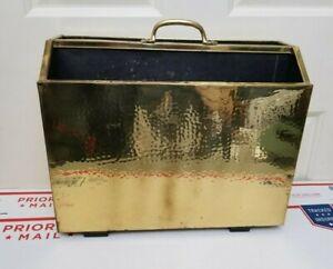 VTG Antique English Magazine Newspaper Holder Rack Gold Brass Wood Record Holder