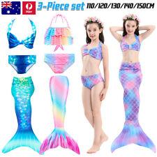 Kids Girls Mermaid Tail Swimming Costume Swimmable Monofin Swimwear Beachwear AU