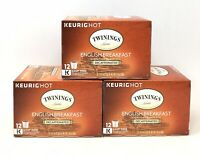 (3) Boxes Twinings' English Breakfast Decaf Black Tea K-Cups - 12 Ct Ea (S6)