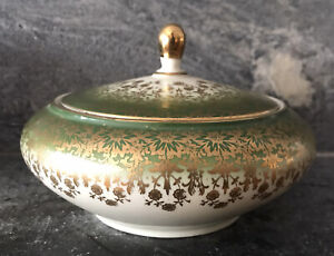 Antique Porcelain Lidded Sugar Bowl BAVARIA 65 Gold Gilt Green LUXURY- Germany