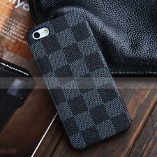 for iPhone SE 5S - BLACK BLUE Luxury Checker Plaid Leather Back Skin Case Cover