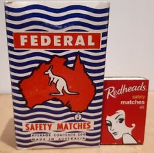LARGE VINTAGE 500 MATCHES FEDERAL SAFETY MATCHES BOX AUSTRALIA