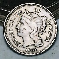 1865 Three Cent Nickel Piece Coin 3C Higher Grade Civil War Date US Coin CC6054